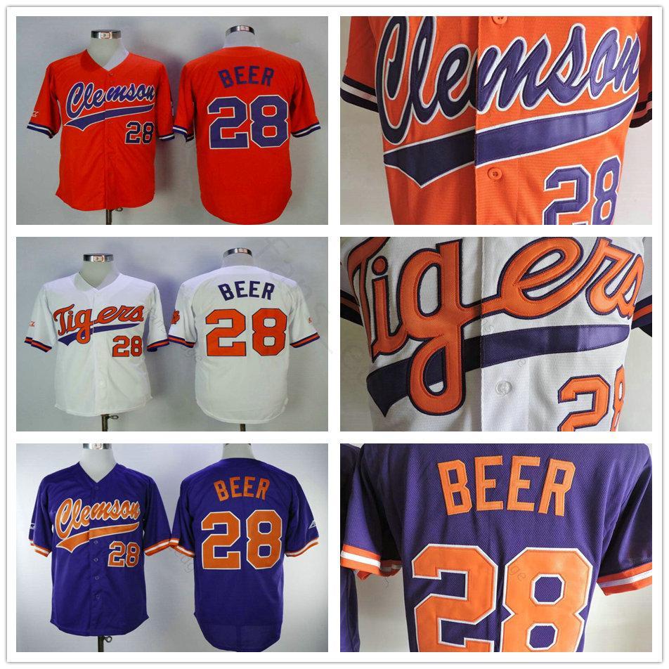 NCAA Kolej Clemson Tigers Beyzbol Jersey 28 Seth Bira Jersey Beyaz Turuncu Mor Deplasman Mens Boyut S-XXXL