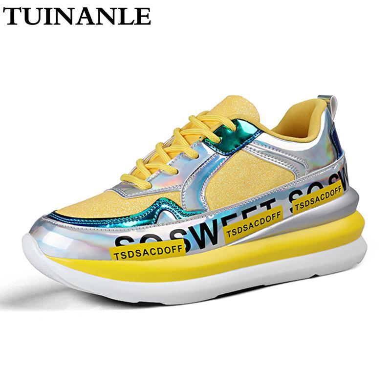 Chaussures de sport pour dames chaussures respirant dames d'or maille automne tricotées paillettes scintillantes occasionnels à fond plat Chunky chaussures de sport