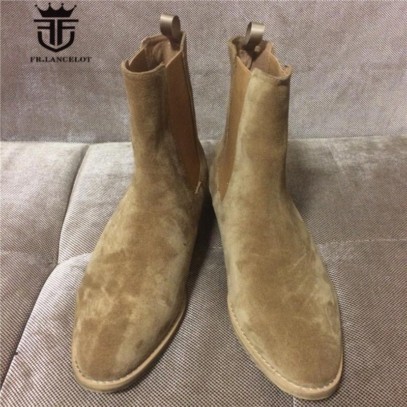 Hecho a mano Slip-On kanyewest SLIM ante beige de los hombres botas de cuña punta estrecha Denim Boots
