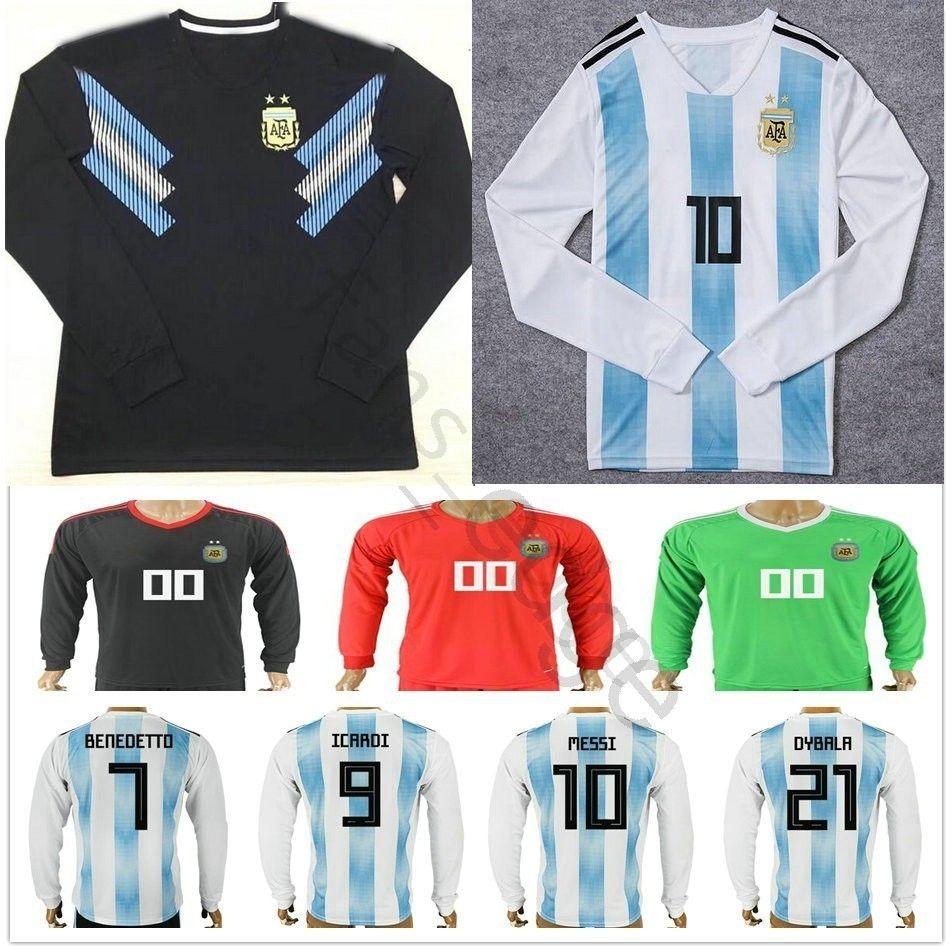 2018 Argentina Long Sleeve World Cup Jersey 10 MESSI MARADONA 20 KUN AGUERO 21 DYBALA 6 BIGLIA ICARDI Home Soccer Football Shirt