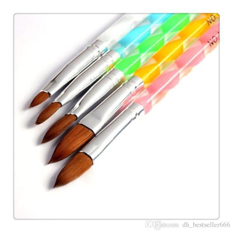 الاكريليك مسمار فن uv gel نحت القلم فرشاة السائل مسحوق التنقيط القلم كيت فرشاة نظيفة مانيكير أداة تعيين 5 قطع مجموعة