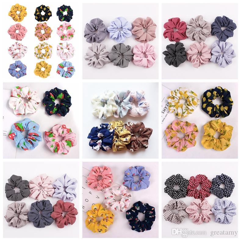 Kore kadife saten saç scrunchie elastik saç bantları düz renk kadın kızlar şapkalar at kuyruğu tutucu çiçek zebra meyve saç aksesuarları