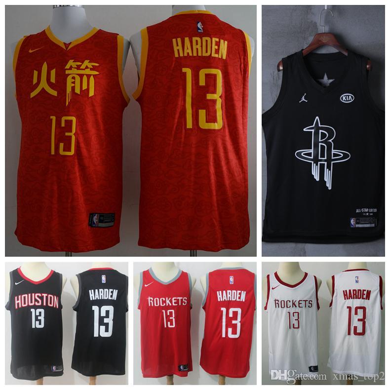 brand new 8cc64 6cfe9 2019 Mens Houston Jerseys Rockets 13 Harden Basketball Jerseys Stitched New  City Jerseys Harden Jersey Rockets Basketball Shorts Groom To Be Shirts ...
