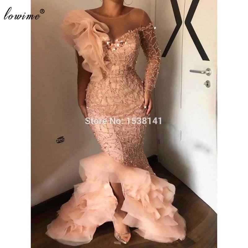 Plus Size African Prom Dresses Mermaid Beading Dubai Evening Dresses Women Party Night One Shoulder Sexy Vestidos De Fiesta