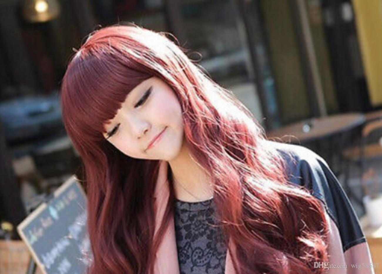 WIG free shipping Women's Full Lace Synthetic Long curly Wave Burgundy Color Tidy Bangs Hair Wigs