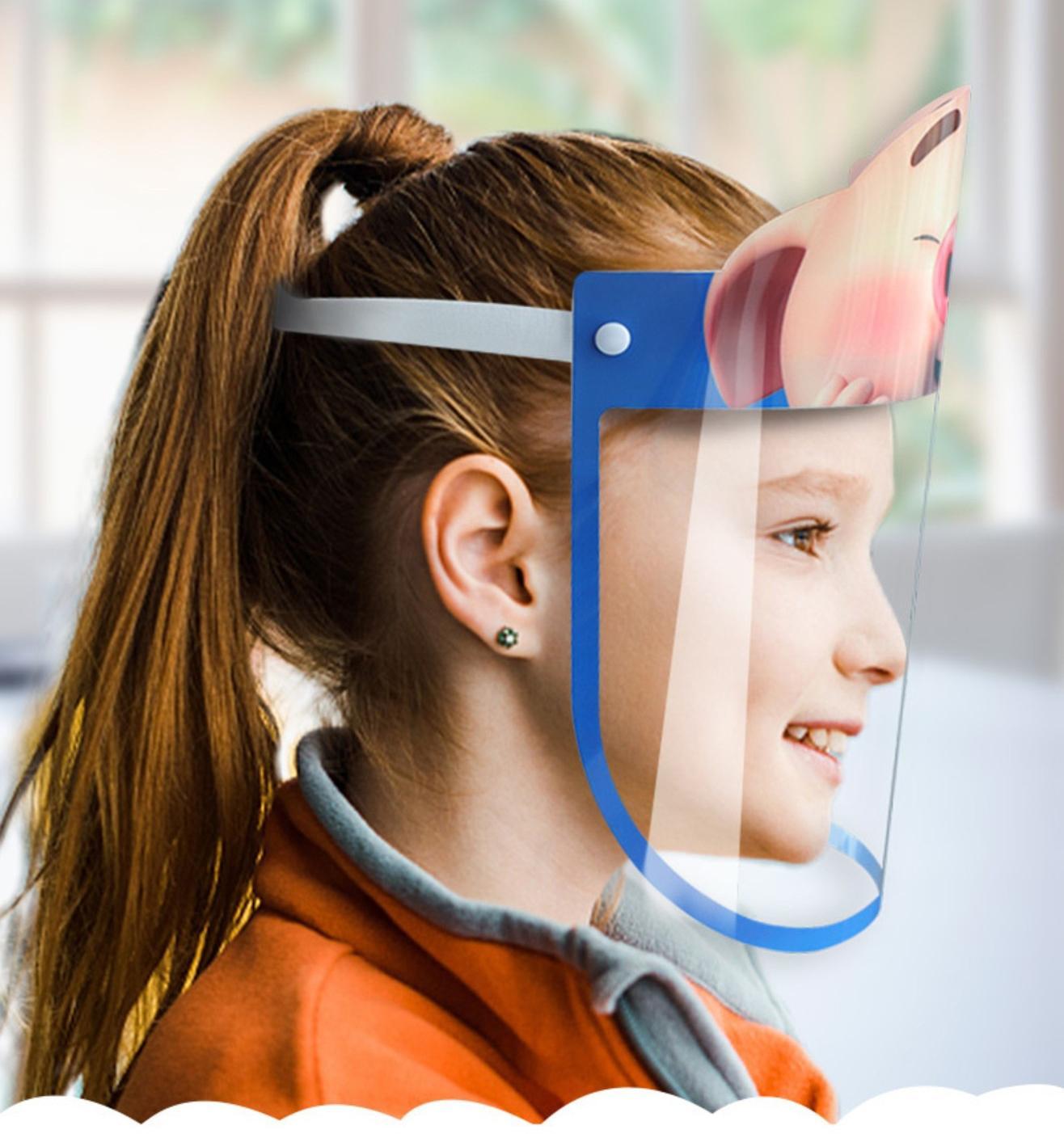 Envío de los EEUU PET de dibujos animados Niños Cara Escudo de Seguridad Chidren máscara protectora cubierta antiniebla Anti-UV Transpartent máscara facial para Niños Niñas