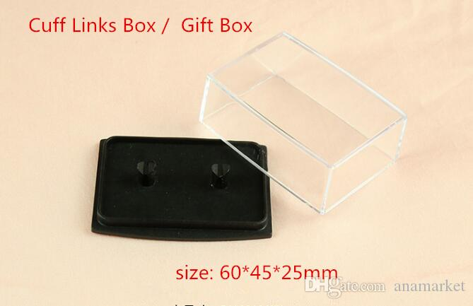 Wholesale 200pcs/lot Transparent Plastic Cuff Links Box Gift Box Cufflinks Display Holder Storage Carrying Case