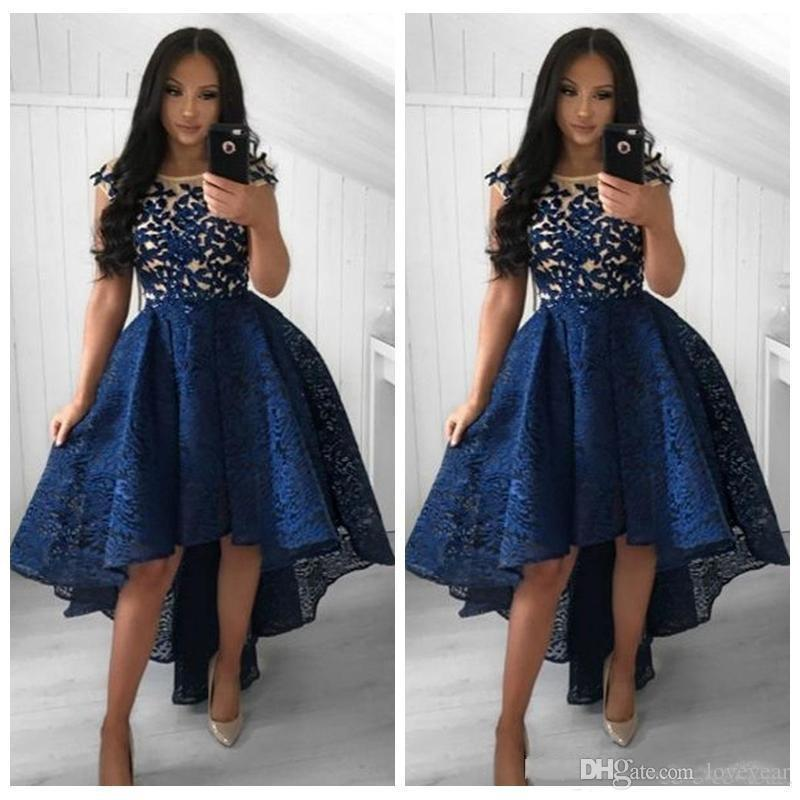 Elegant Lace High Low Prom Dresses Appliques Special Occasion Party Gowns Formal Cap Sleeves Arabic Evening Cocktail Dress