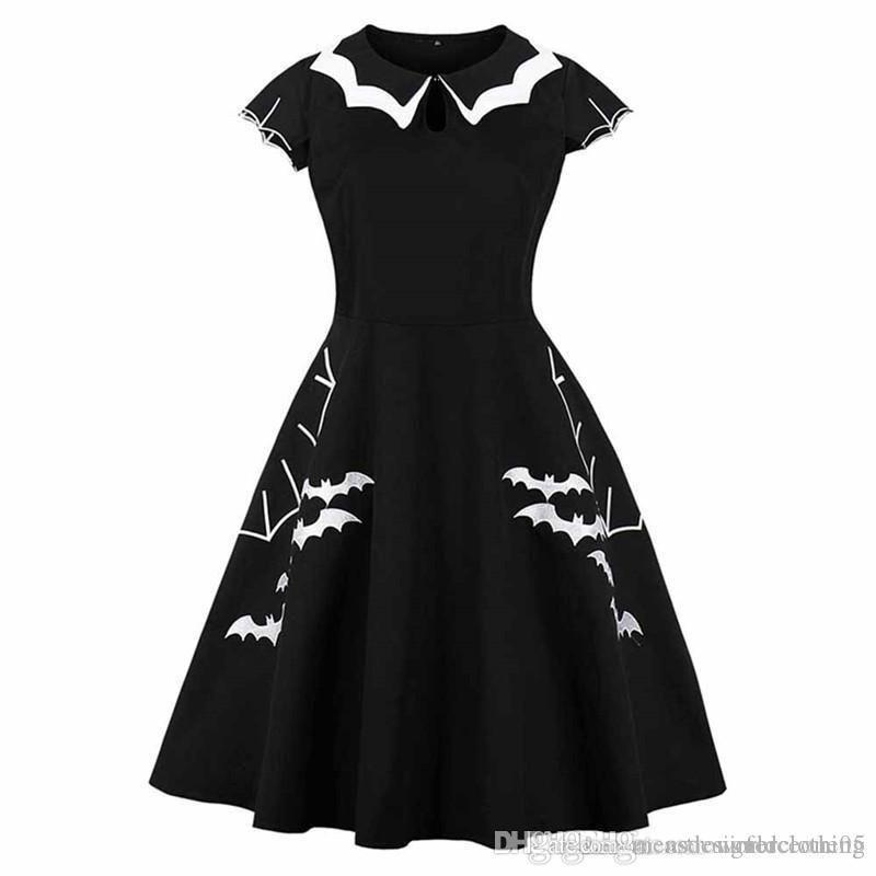 Impreso del palo de Halloween para mujer vestidos de Negro o cuello media manga de las mujeres atractivas de los vestidos de moda señoras flojas ropa de verano