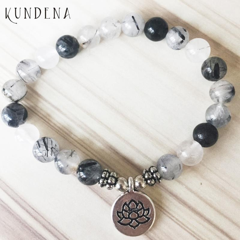 Mala Armbänder für Unisex Depression Angst Relief Armbänder Yoga Lotus Armband Rutilated Buddha Charm Armband