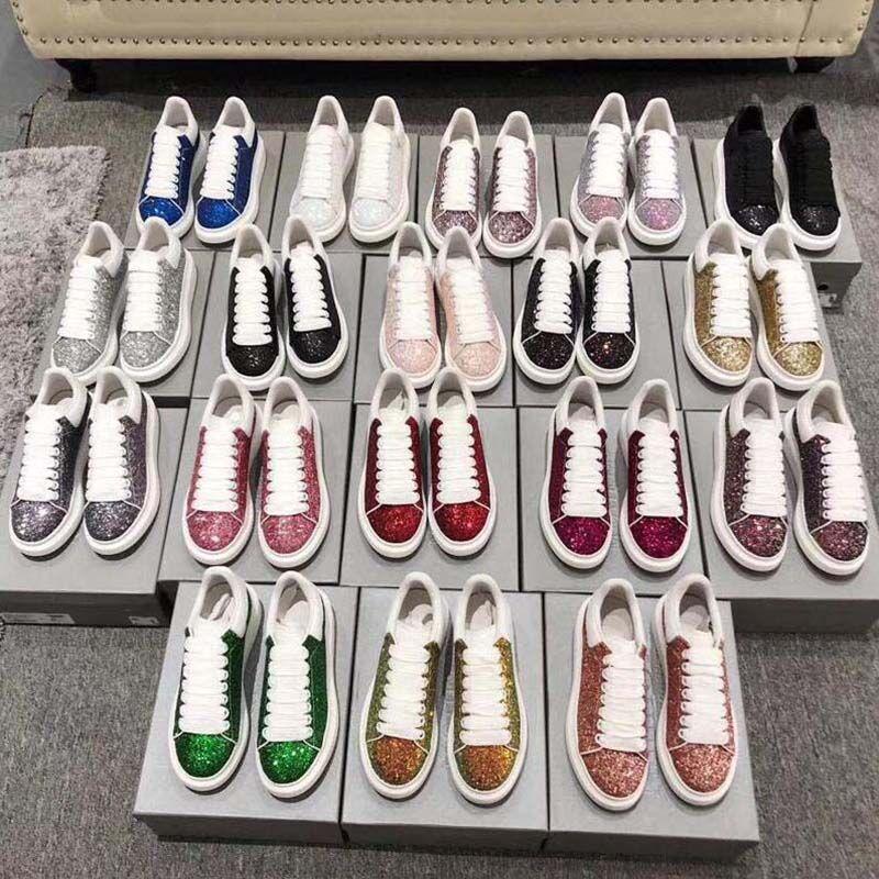 Nouveau mode des femmes des hommes 039 blanc Chaussures casual plate en cuir Chaussures plates Casual Lady Noir Rouge Rose Sneakers H1
