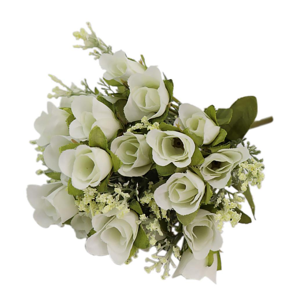 Artificial Roses 20 Heads Bouquet For Home Garden Party Decoration White