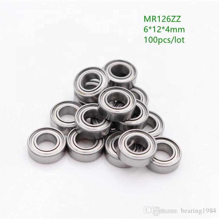 100 개 / 몫 MR126ZZ 소형 스틸 볼 베어링 6 * 12 * 4 MR126 차폐 방사형 깊은 홈 볼 베어링 6x12x4 미리 메터