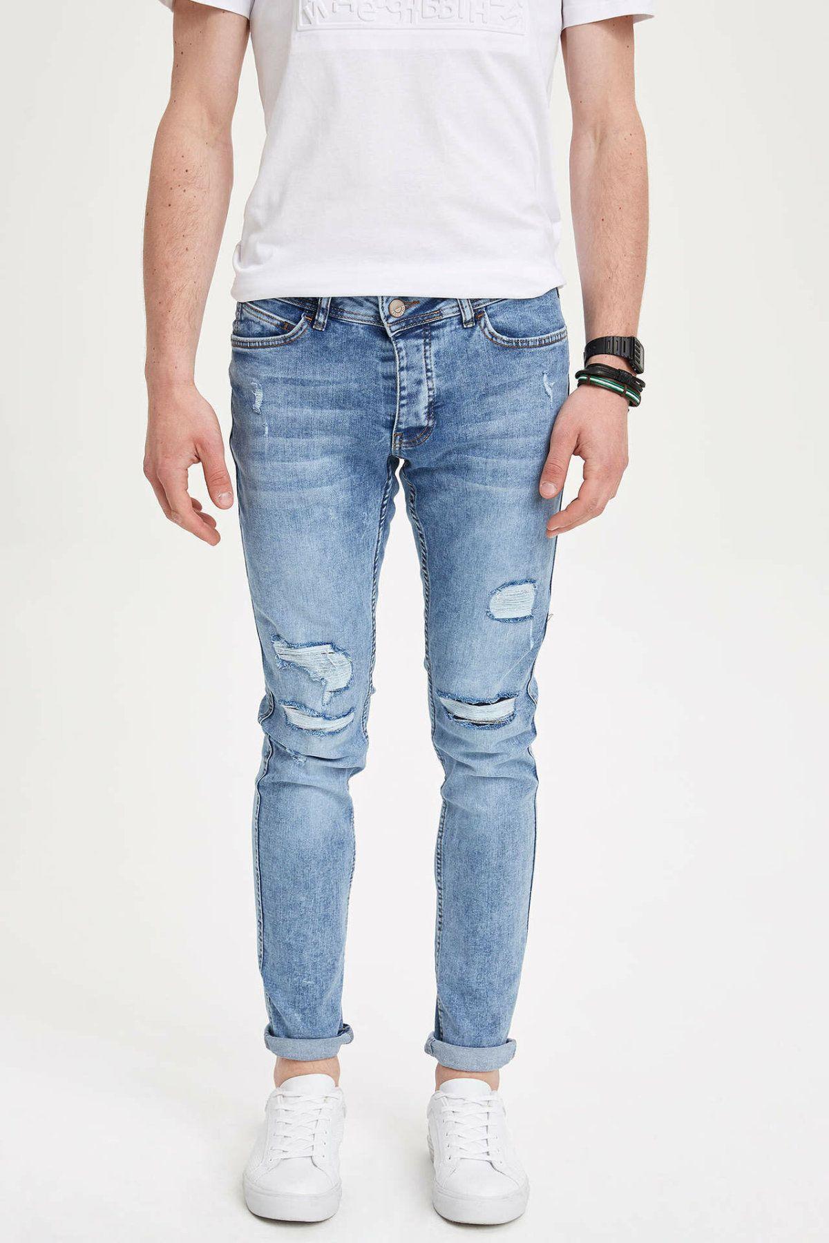 Defacto Erkek Moda Delik Açık Mavi Basit Pantolon Casual Klasik İnce Denim Jeans Casual Esneklik Pantolon Erkek -L6096AZ19SM