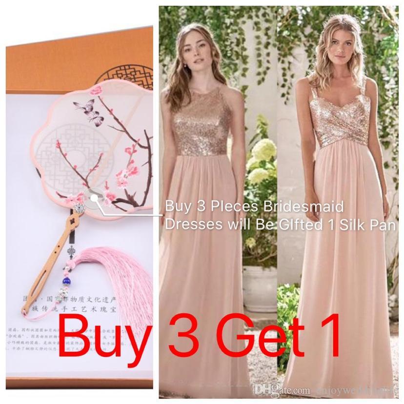 Sparkly розовое золото Sequined невесты платья 2019 Длинные шифон Холтер Line ремни оборками Blush Pink горничной честь гостей свадьбы платья