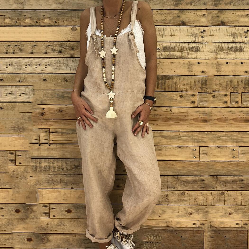 Fashion Women Casual V-Neck Sleeveless Cotton Linen Jumpsuit Loose Pants Overall