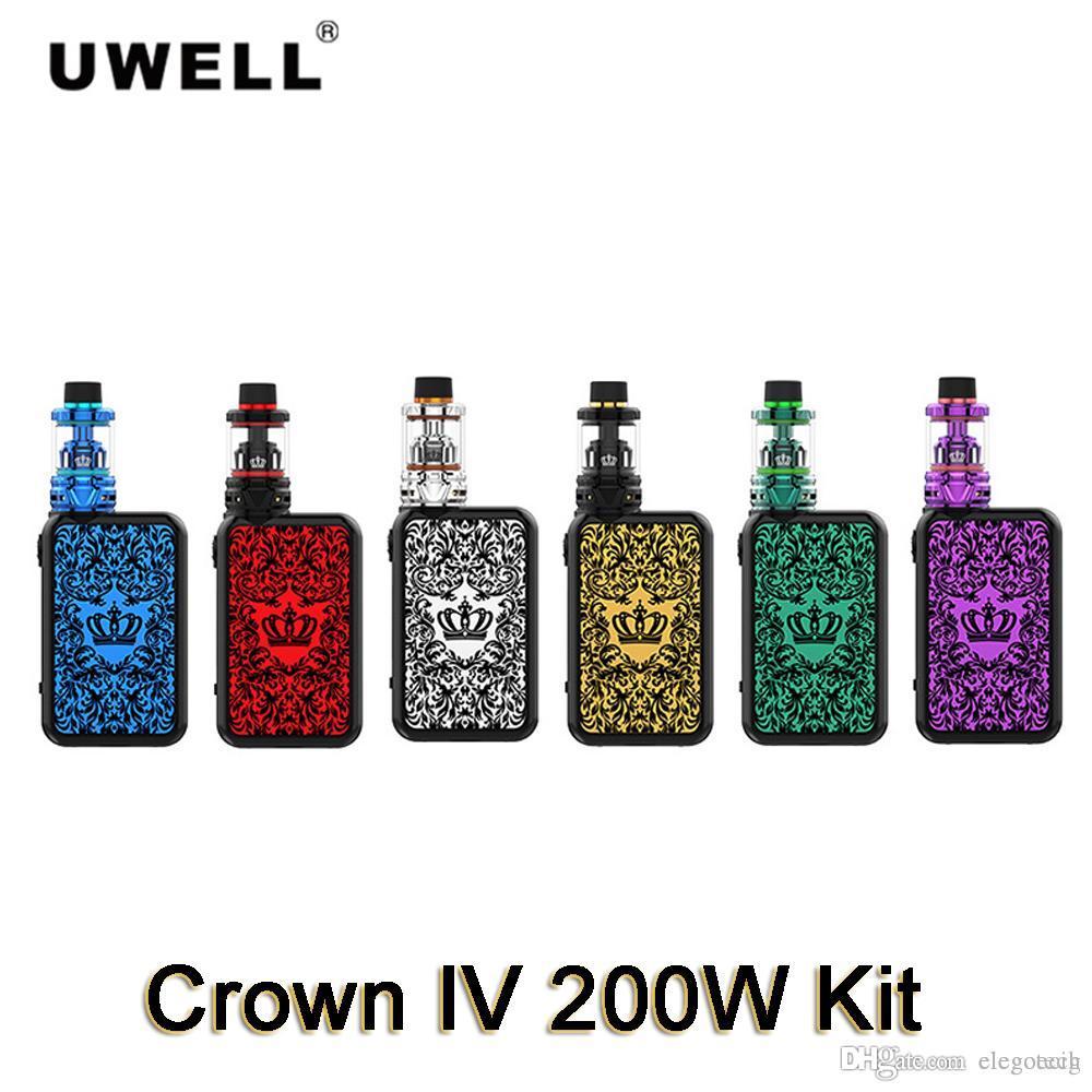 Original Uwell Crown IV 200W Kit with 5ml Tank Atomizer Dual SS904L UN1 UN2 Coils also Fit Double helix mesh Cores 100% Authentic