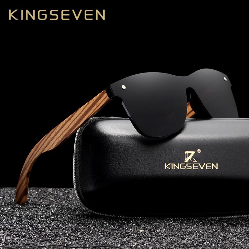 KINGSEVEN 2019 الاستقطاب النظارات الشمسية ساحة الرجال النساء زيبرا إطار خشبي مرآة مستوية عدسة القيادة UV400 نظارات T191230