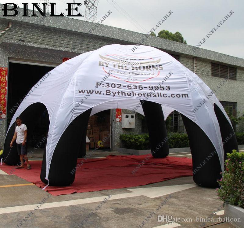 أسلوب قوس 6legs العملاقة للنفخ خيمة العنكبوت مع LOGO المطبوعة للماء الأبيض قبة الهواء نفخ خيمة مظلة شرفة نفخ لهذا الحدث