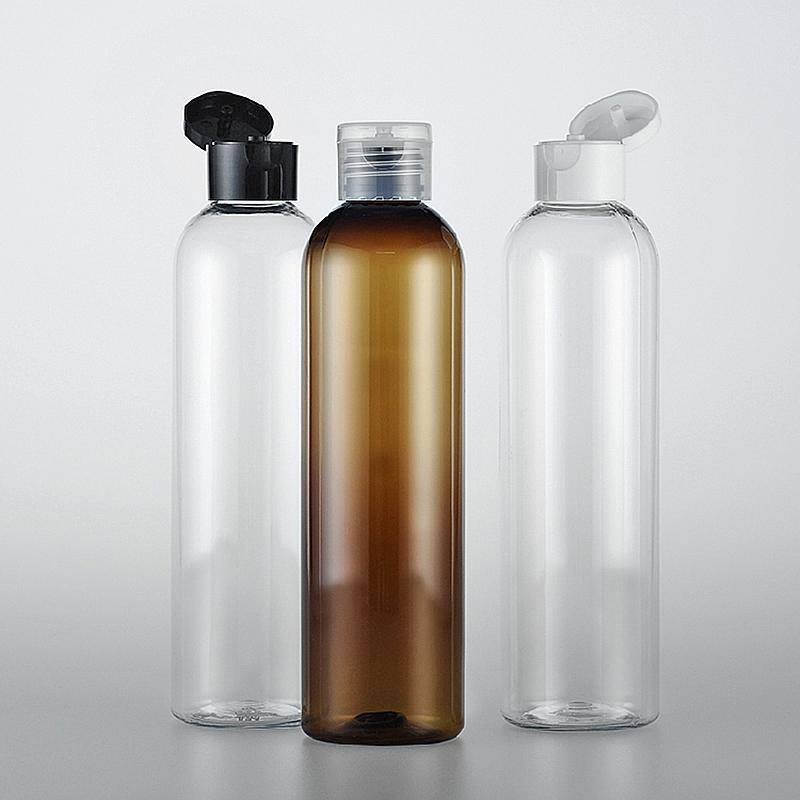 SICAK (30pcs / çok) tetik üst başlığı, doldurulabilir seyahat şampuan ambalaj PET şişe ile 250 ml saydam plastik şampuan seyahat şişeler