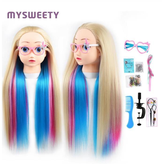 24 ' bande dessinée Professionnel Cheveux Mannequin professionnel Style Perruque tête de coiffure Mannequin Poupée Formation Mannequin Tête Pour Enfants