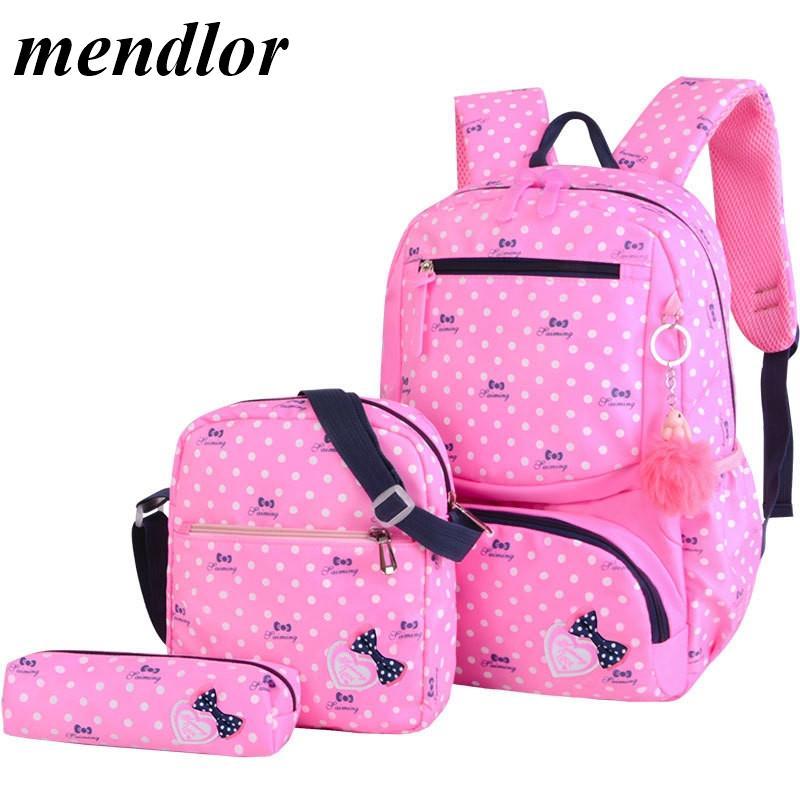3шт / набор дети ранцы Подростков девочки Сладкого рюкзак школьных рюкзаки дети путешествие рюкзак милого мешок плеча Mochila