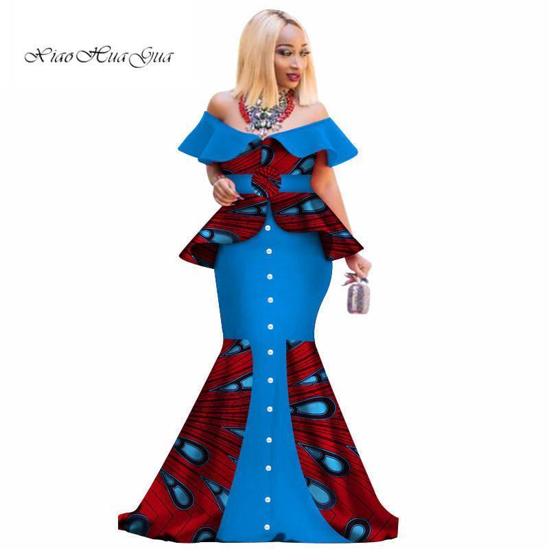 Африканских печати Лоскутного Falbala платье Lady плечо Вечерние платья партия способ Slash шейных африканские платьев для женщин WY3096