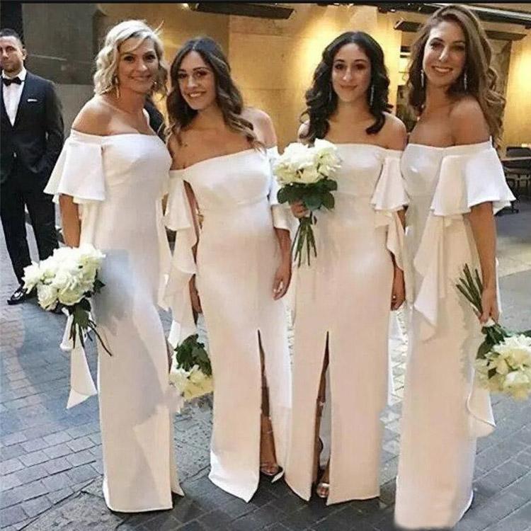 명예 드레스의 2020 매력적인 화이트 인어 신부 들러리 드레스 전면 분할 프릴 오프 숄더 맞춤 제작 플러스 사이즈 메이드