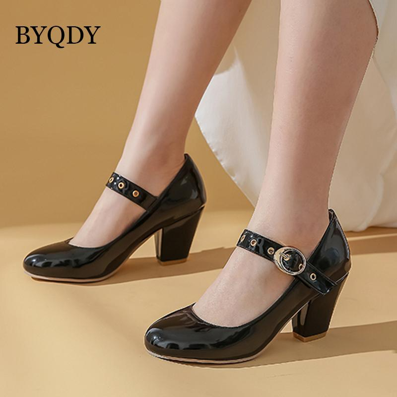 BYQDY Spring Autumn Women Pumps Patent Leather Bride Wedding Shoes Block Heel Shoes Buckle Strap Round Toe Valentine Footwear