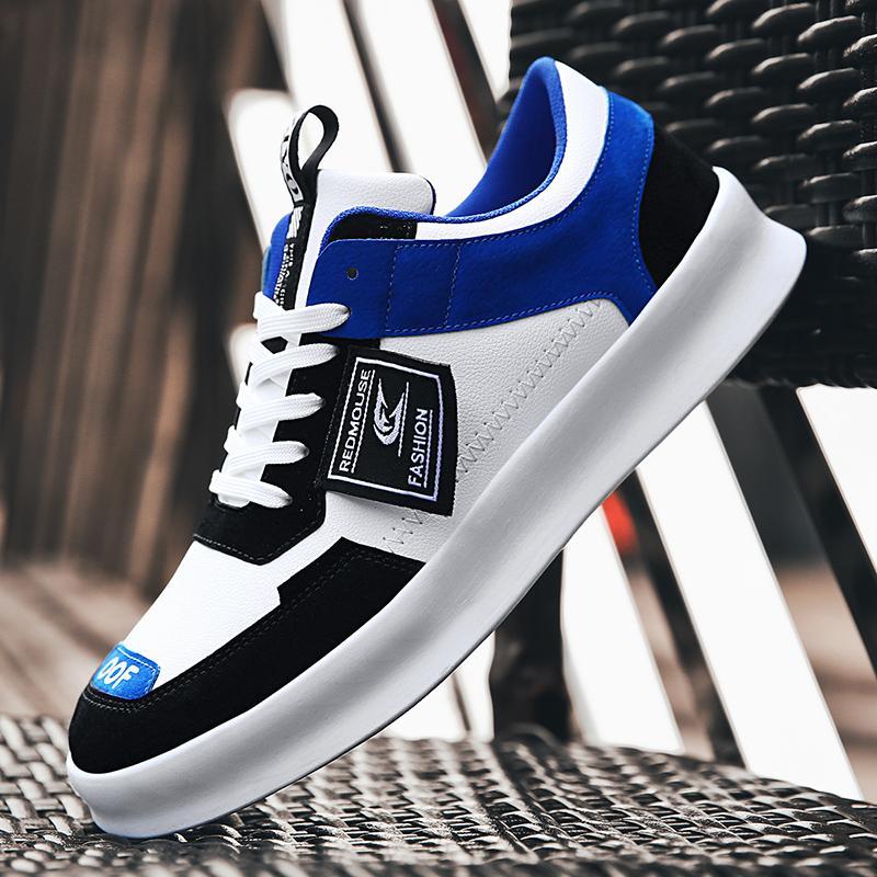 2019 Sonbahar YENİ Gerçek Deri Erkek Ayakkabı Beyaz mavi Moda Rahat Düz Dantel-up Erkek Ayakkabı Erkek Büyük Beden 39-44