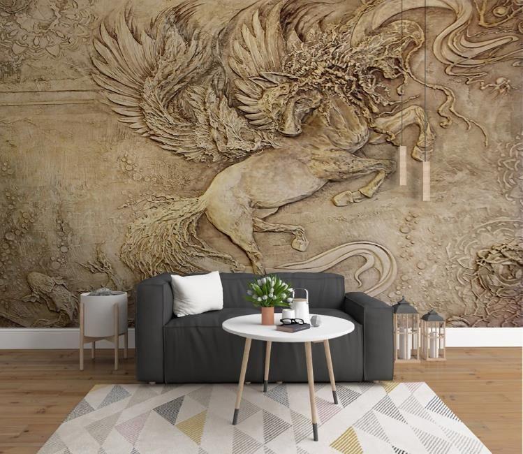 Encargo cualquier fondo de pantalla mural de relevación 3D tridimensional Tianma fondos de pantalla para la sala de estar dormitorio principal Decoración mural