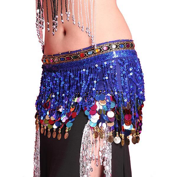 Многоцветный шифон Belly Dance Hip шарф монет пришивания пояса юбки кисточкой Hip Wrap Party Sexy юбка