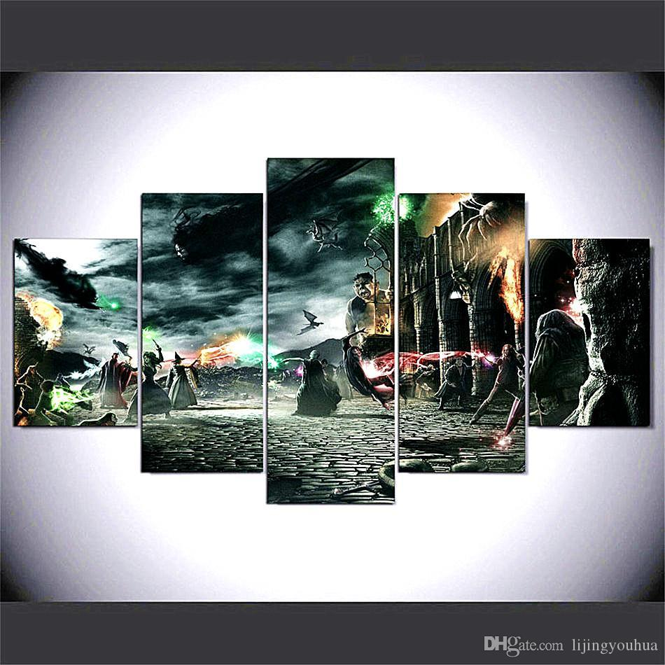 Harry Potter Fight ,5 Pieces Home Decor HD Printed Modern Art Painting on Canvas / Unframed / Framed