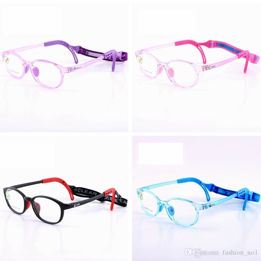 Kids Silicone Glasses Fashion Frame Elastic Cord Children Eyewear Frame With Head Band Cord Candy Color Eyeglasses LJJ_TA1260
