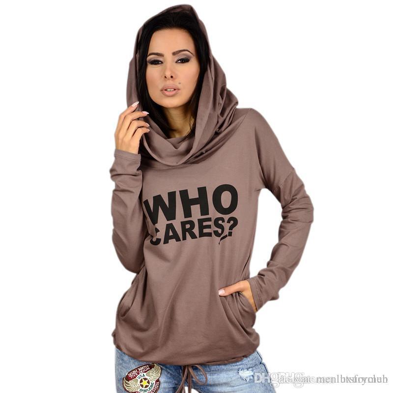 Designer Stampato Womens sottili magliette Who Cares lettere pullover del lungo donne manica magliette casual Abbigliamento Femminile