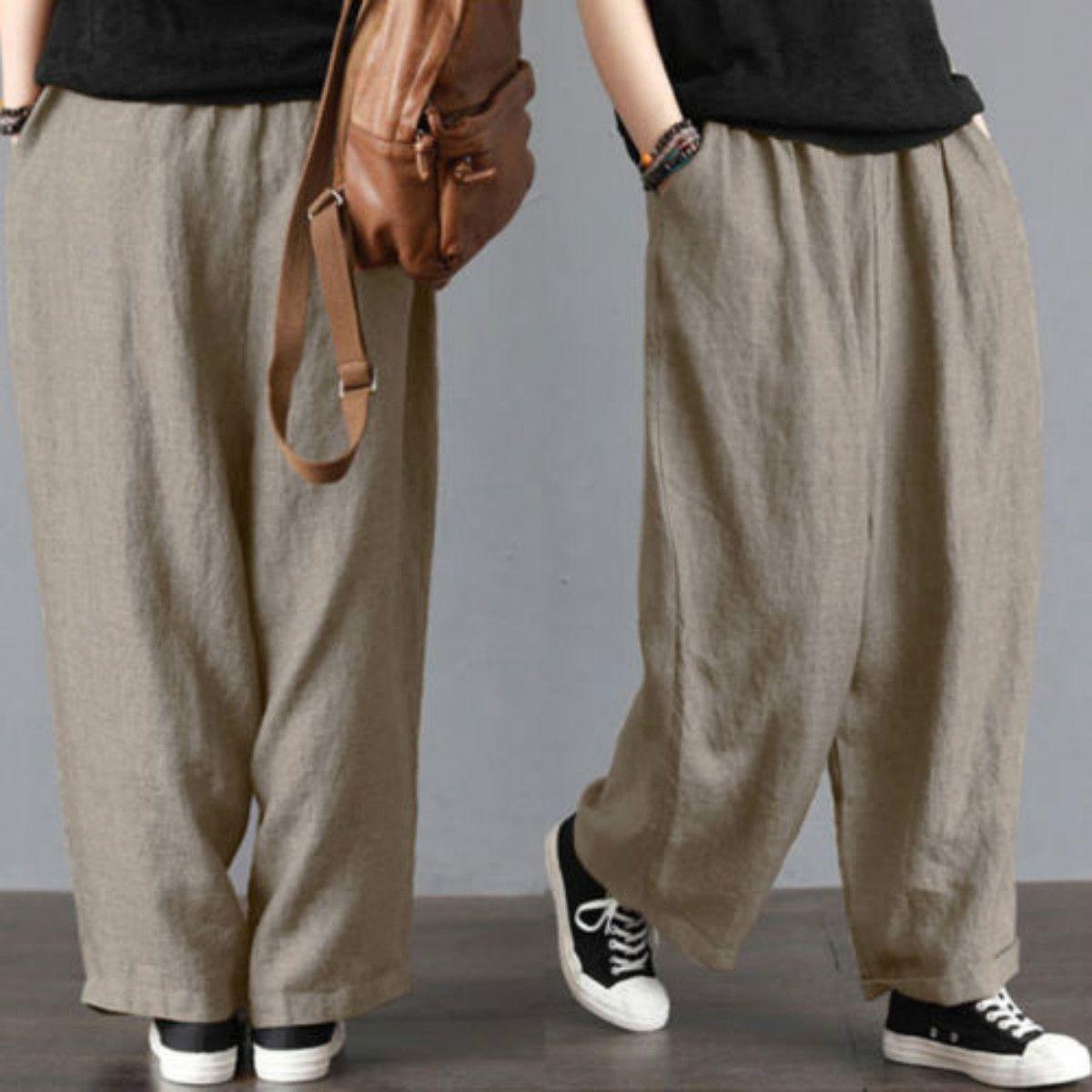 Pantalones de pierna ancha Nuevos hombres de marca Pantalones sueltos de pierna ancha Pantalón de algodón Pantalones casuales Pantalones Harem Talla grande