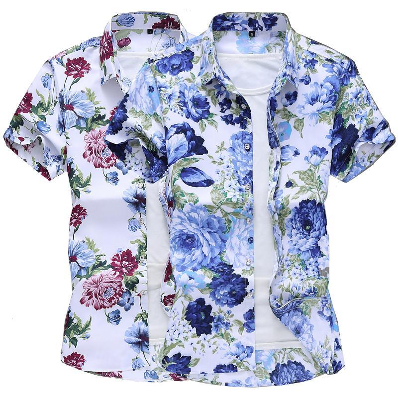 6xl camisa de los hombres de manga corta de flores de gran tamaño verano camisas para hombre casuales hombres de la camisa azul de la manera mejor hombre blanco verde