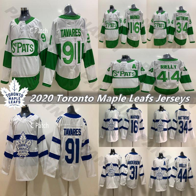 2020 Toronto St. Pats e White Toronto Maple Leafs Jersey 91 Tavares 34 Matthew 16 Marner 44 Morgan Rielly 31 Andersen Hockey Jerseys