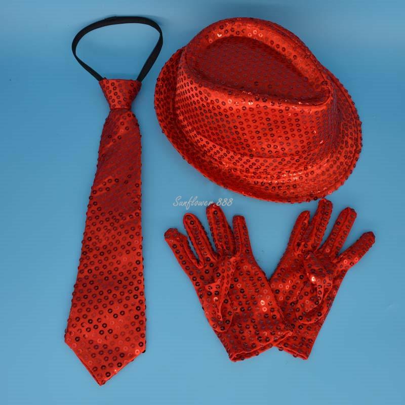 Children Kids Boy Girl Sequin Fedora Hat Jazz Hat Cap Gloves Ties Neck Tie For Party Hats Dance Show Performance Halloween Y19061704