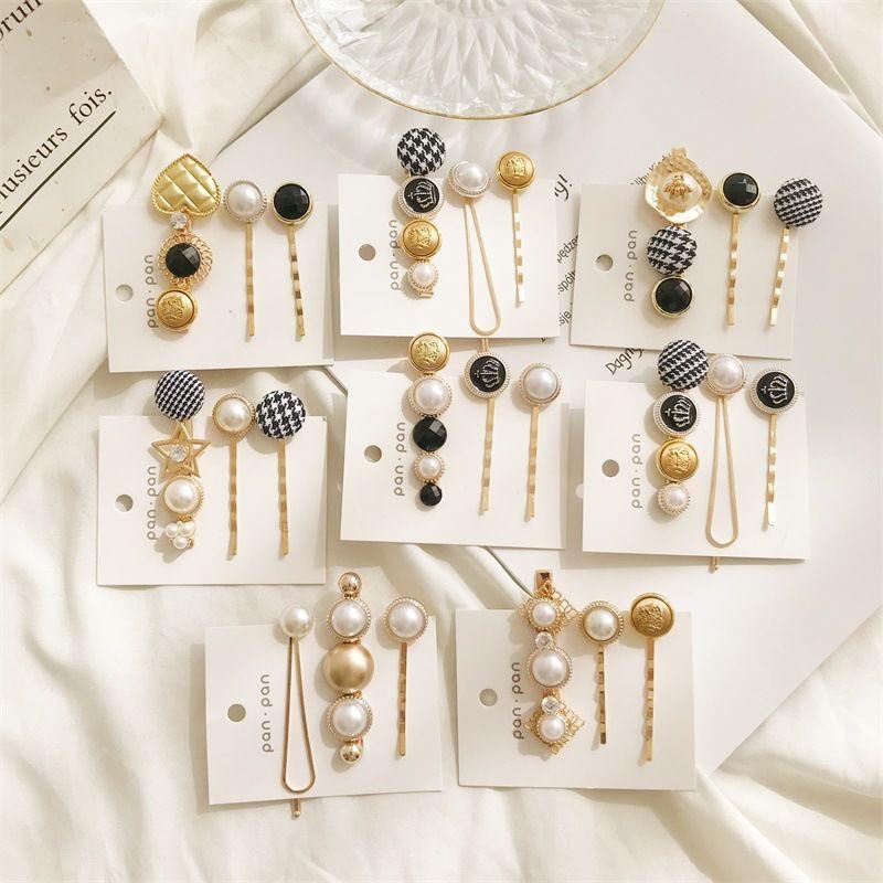 S941 Hot moda jóias de pérola botões Cabelo Barrette Clipe Mulheres Meninas Hairpin Barrettes 3pcs / set