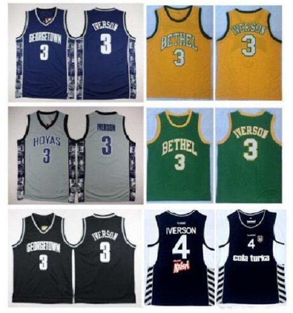 NCAA Georgetown Hoyas Allen Iverson College Jersey 4 Allen Iverson Besiktas Cola Turka de la Turquie turque Bethel irlandaise Haute école de basket-ball