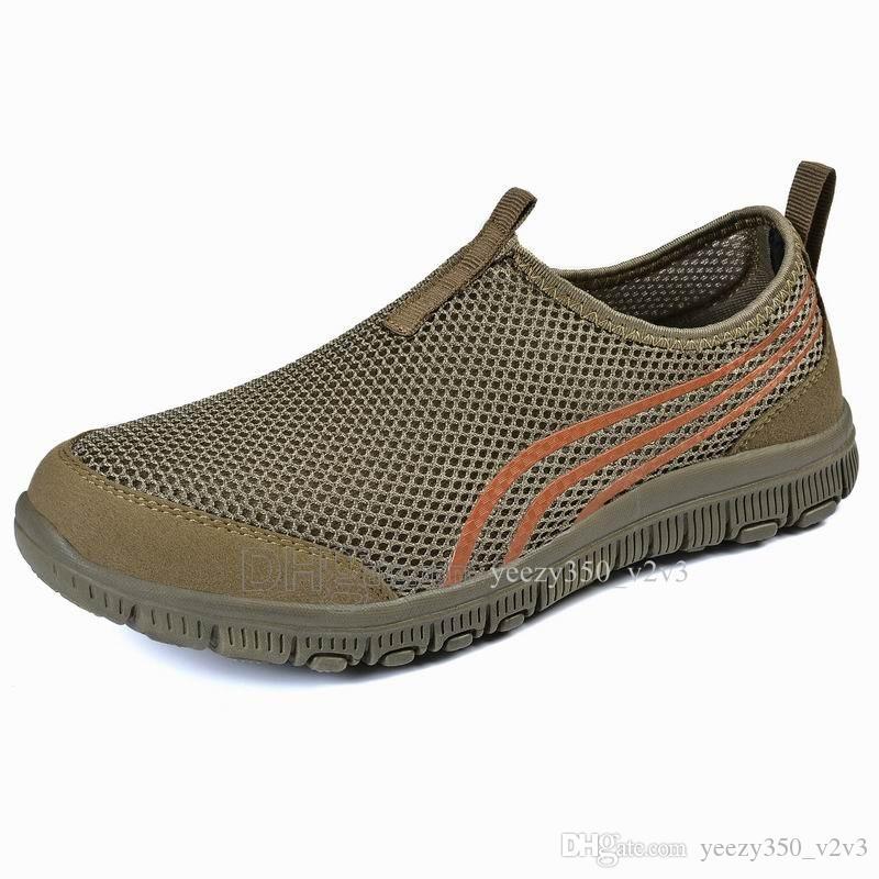 Горячая продажа Мода Мужская обувь Mesh дышащие кроссовки Walking Мужчины Обувь Новая Комфортная легкие кроссовки D-200301194