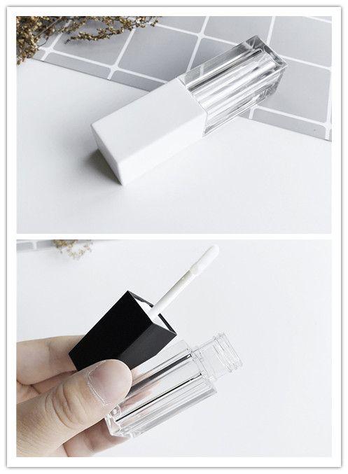 1PCS Lip Gloss vazio Tubo DIY Batom Lip Garrafa Tubo Container Com Cap Limpar Black White Cosmetic Amostra Container