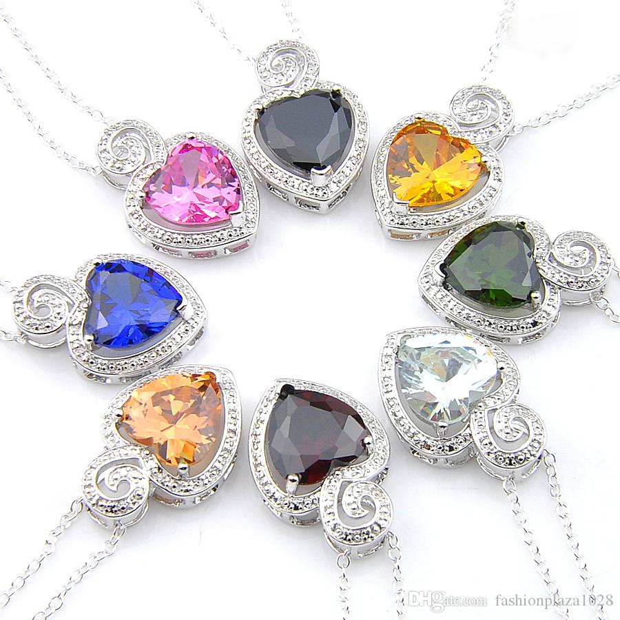 LUCKYSHINE dei monili dell'annata 8 colore citrino Peridot Topaz pendenti di gemme regalo dei monili 925 d'argento del pendente del cuore Canada Messico gioielli