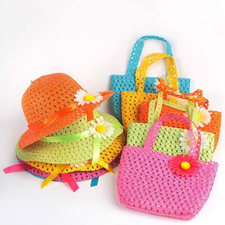 어린이 9 색 C1938를위한 2020 사랑스러운 해바라기 꽃 모자 어린이 복장 여자 아기 캐주얼 해변 일 밀짚 모자 + 밀짚 핸드백 2 개 / 세트