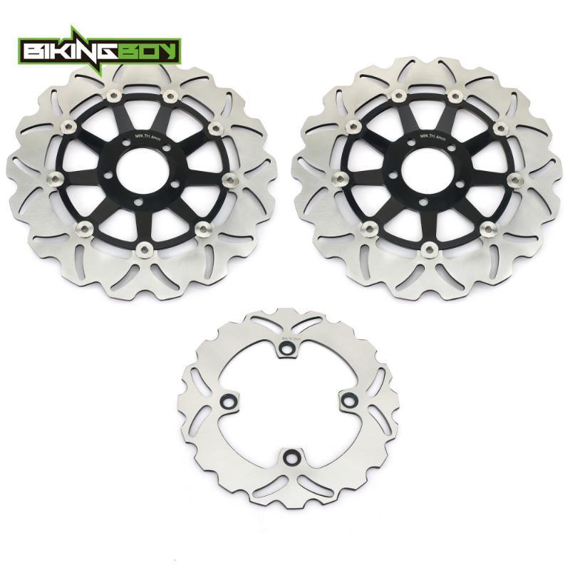 BIKINGBOY Gold / Black Front Rear Brake Discs Disks Rotors For ZX-9R ZX9R Ninja ZX900E E1 E2 00 01 2000 2001
