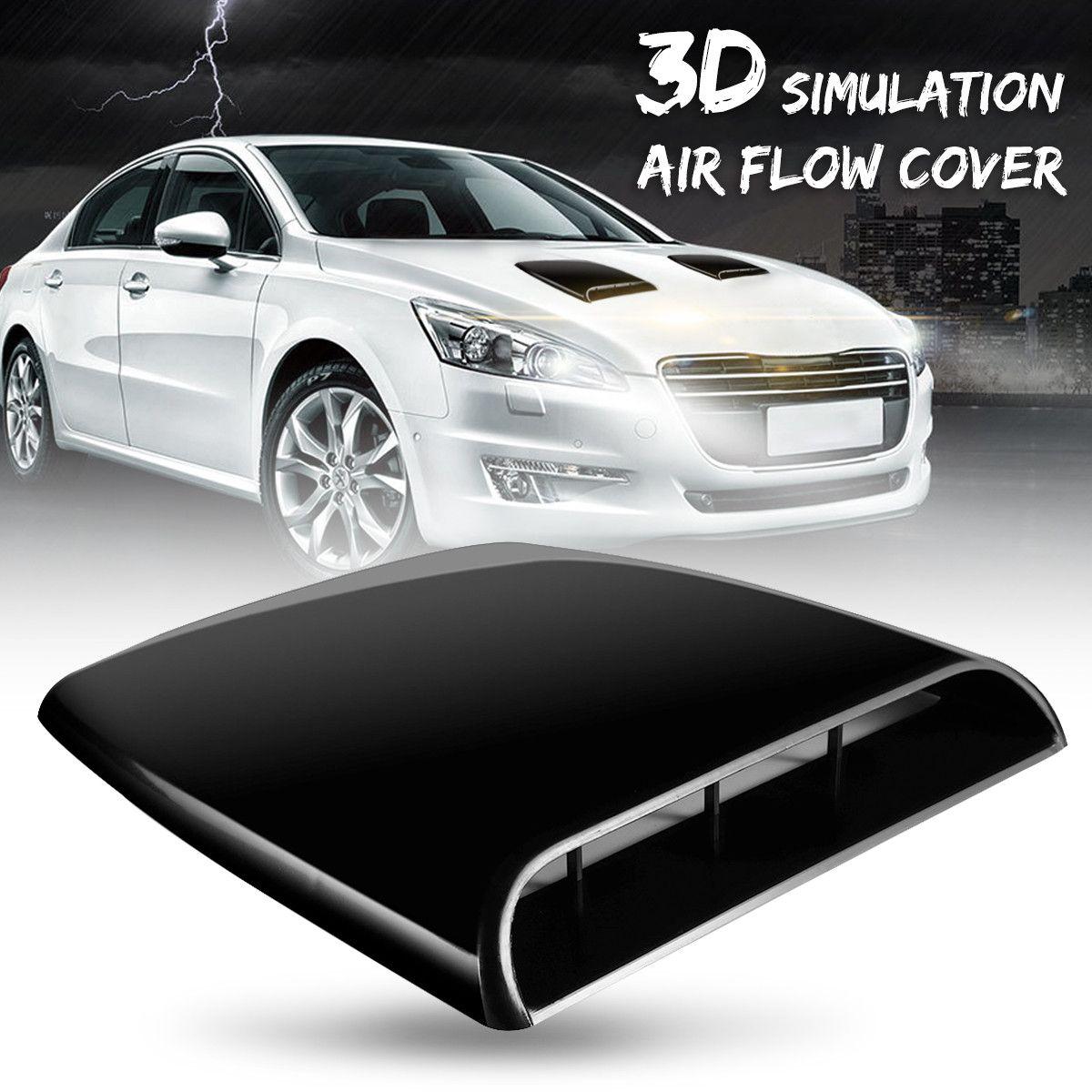 L'assunzione Auto Car 3D di simulazione del flusso d'aria decorativo scoop di cofano cofano Vent nero della copertura ABS Facilità di installazione solo per decorativo