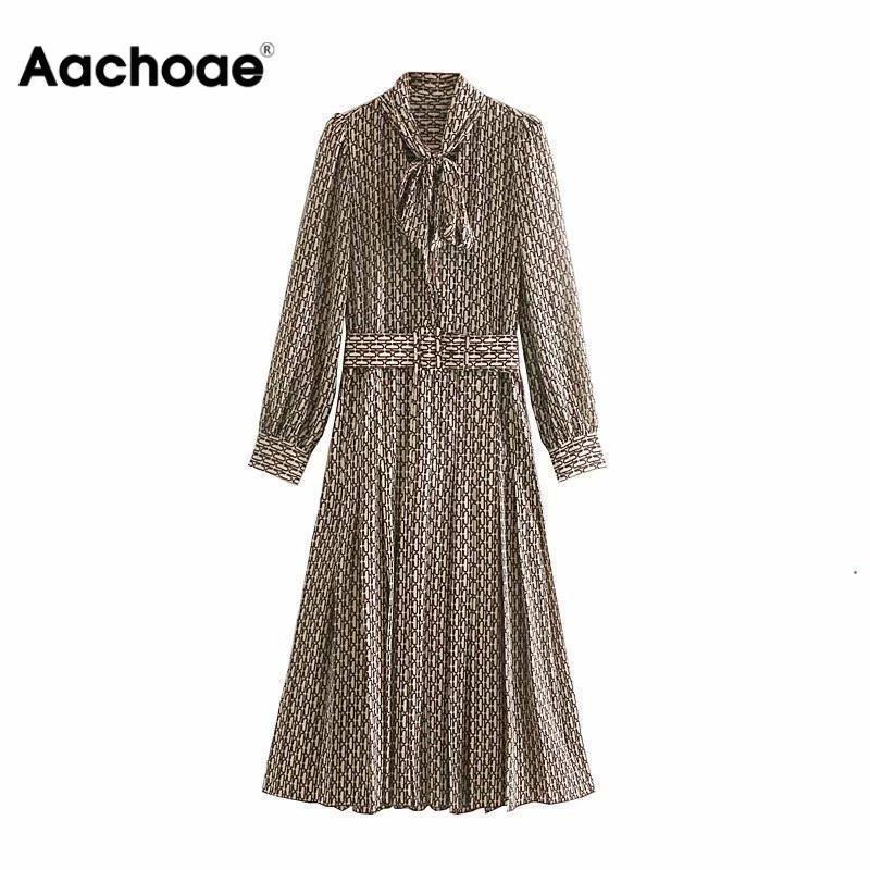 Aachoae женщины элегантное длинное платье с поясом цепи печати галстук-бабочка шеи офис Леди рубашка Платье с длинным рукавом плиссированные платья Vestidos Y200326