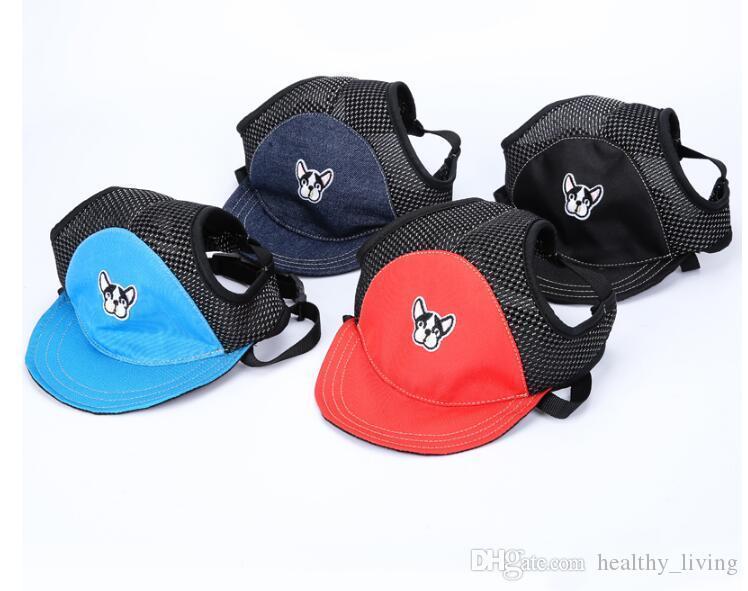 2019 Summer Pet Sun Hat Bulldog Pattern Dog Hat Dog Travel Sun Hats Dogs Outdoor Visor Hat Mesh Breathable Pet Baseball Cap