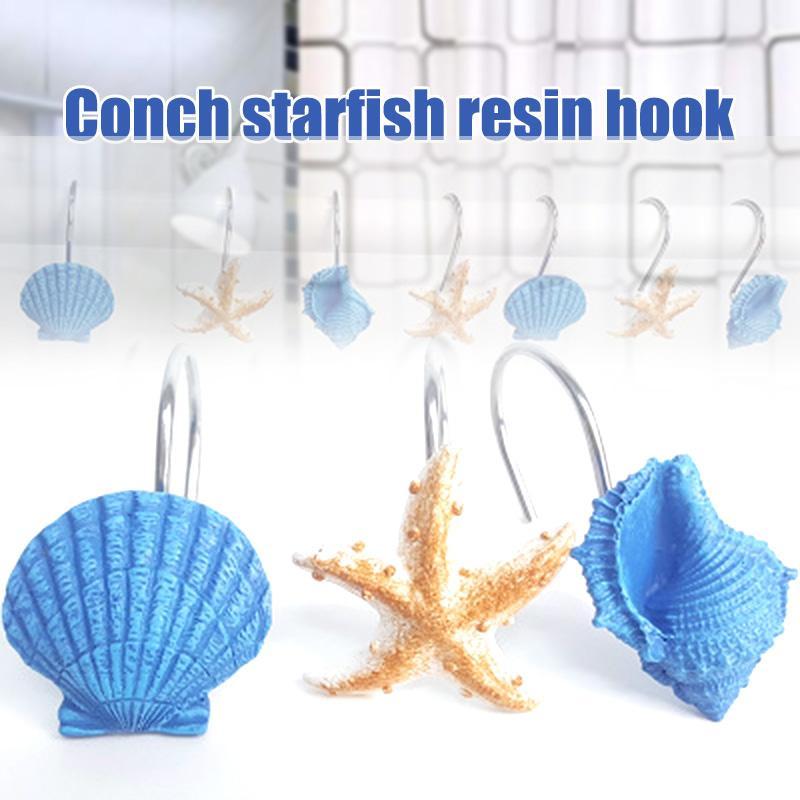 12 PCS Mode décoratif Accueil Salle de bain Seashell rideau de douche Crochets Hanger Hôtel Sacs à main Décor L9